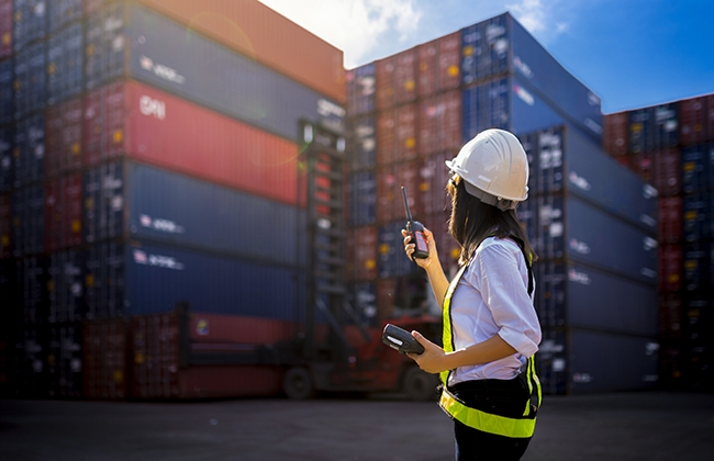 Photo of shipping containers stacked and a worker in a hardhat.